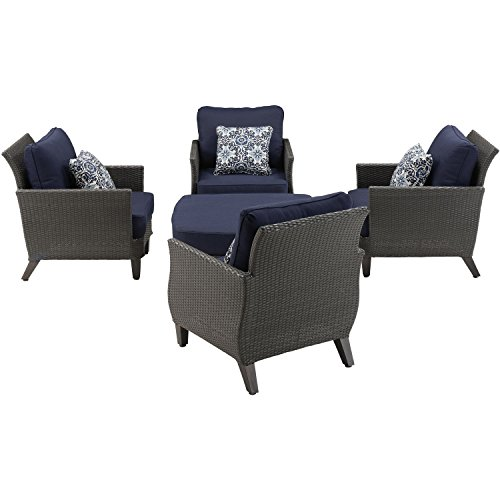 Hanover Savannah 5-Piece Chat Set Navy Blue; Transitional grey and brown SAV-5PC-NVY