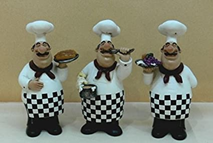 Amazon Com Bistro Fat Chef Figurine 3pc Kitchen Decor