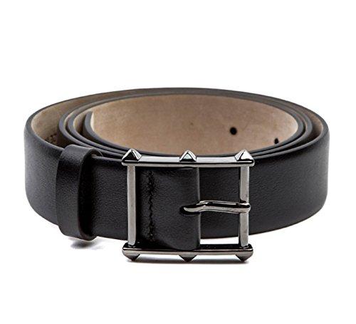 Wiberlux Valentino Men's Rockstud Detailed Buckle Belt 90 Black
