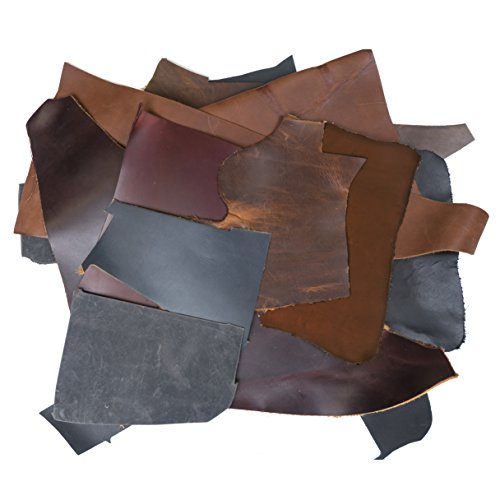 2lb Box of Mixed Colored Top Grain Leather Remnants and Leather Scraps in Form USA Raised Cows, 2 – 3 MM Thick (4.5-5.5 Ounces) Leather for Arts and Crafts, Earth Toned (Cuff Grain)