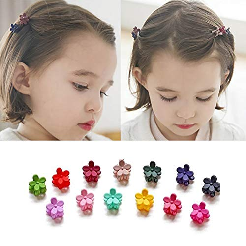 (Luckycivia 100Pcs Mini Hair Claw Clip for Women Little Girls, Kids Hair Claw Clips Flower Shape Hair Bangs Pin, Assorted Colored Mix Colored.)