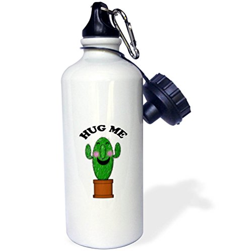3dRose BlakCircleGirl - Funny - Hug Me Cactus - Kawaii Hug Me Smiling Cactus - 21 oz Sports Water Bottle (wb_283655_1) by 3dRose
