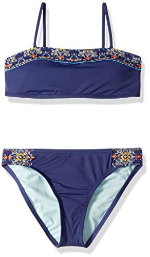 Bandeau Hipster Bikini - Hobie Big Girls' Bandeau Bikini Top and Hipster Bottom Swimsuit Set, Navy//Cross Stitch/Stones, 8