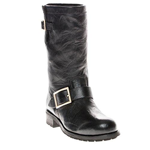 Leather Biker Boots Ladies - 5