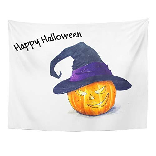 (Tarolo Decor Wall Tapestry Brown Autumn Halloween Pumpkin Sketch on White Orange Candle Delicious Draw 80 x 60 Inches Wall Hanging Picnic for Bedroom Living Room)