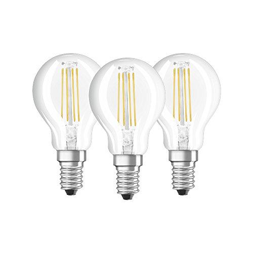 Osram Drop Shape Base Classic P Led Lamp, Glass, Warm White, E14, 4 W, Set Of 3 by Osram