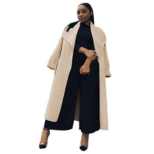 Muranba Women Long Duster Jacket Ladies French Belted Trench Waterfall Coat (Khaki, (Belted Spandex Tunic)