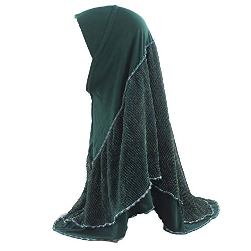 Muslim Women Hijab Islamic Scarf Woman Amira Cap Out Layer Shimmer Crinkle Decoration Soft Stretch