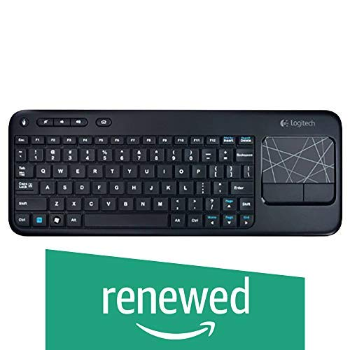Bluetooth Multimedia Keyboard - Logitech Wireless Touch Keyboard K400 with Built-In Multi-Touch Touchpad, Black (Renewed)