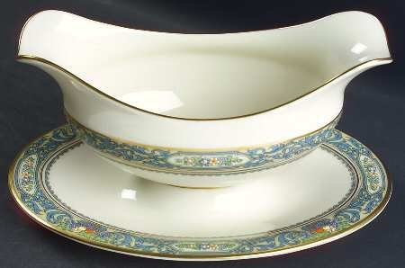 Lenox Autumn (Newer,Gold Backstamp) Gravy Boat with Attached Underplate, Fine China Dinnerware