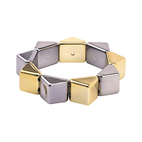 QIUHUAXIANG Classic Resin Cuff Fashion Bracelets Bangles for Women Stretch Colourful Acrylic Geometric Bracelets Female Charm Gifts Jewelry,Gray