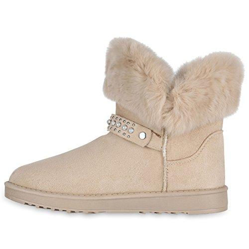 Stiefelparadies Damen Stiefeletten Warm Gefütterte Schlupfstiefel Schleifen Schuhe Flandell Creme Nieten