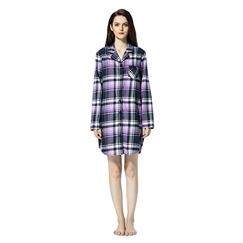 Women's Plaid Flannel Shirt Dress Blouse Mid-Long Style Boyfriend Plaid Sleepshirt (XL, Purple Plaid) (100 Cotton Flannel Nightgown)