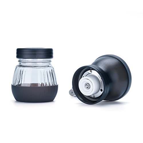 Manual Coffee Grinder with Conical Ceramic Burr - Because Hand Ground Coffee Beans Taste Best, Infinitely Adjustable Grind, Glass Jar, Stainless Steel Built To Last, Quiet and Portable by WELLMON (Image #2)