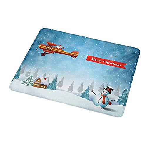 Rectangle Non-Slip Rubber Mouse Pad Christmas,Santa in a Plane Flying Over The Forest with Snowman Jolly Season Celebration,Blue Orange,Mousepad Great for Laptop,Computer 9.8