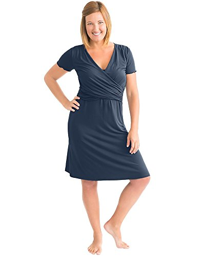 Kindred Bravely Angelina Ultra Soft Maternity & Nursing Nightgown Dress (Navy Blue, X-Small)