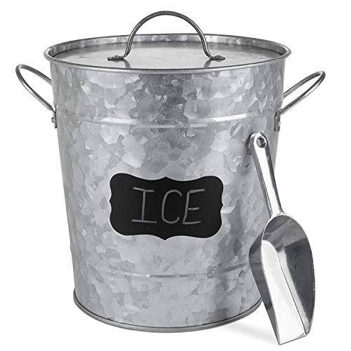 (Galvanized Metal Ice Bucket and Scoop - Steel Construction - Plastic Insert - Lid Included - Bonus Chalkboard Labels and Marker)