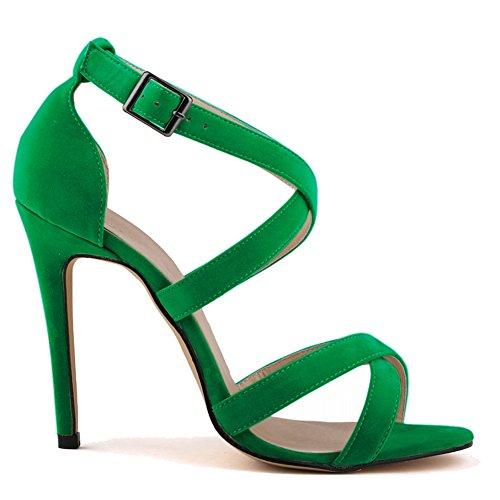 Loslandifen Women's Ankle Strap High Heels Faux Velvet Stilettos Sandals Pumps(102-1AVE37,green)