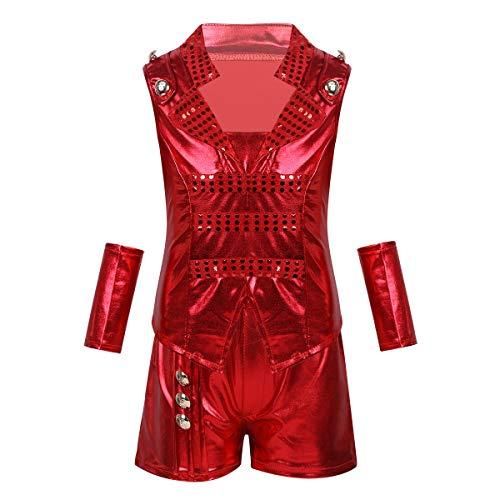 Freebily Unisex Kids Boys Girls Jazz Dance Costume Outfit Shiny Metallic Hip Hop Modern Performance Dance Outfits Red 11-12 ()