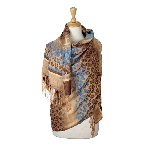 Paskmlna Animal Print Fringed Shoulder Pashmina Wrap Scarf - Leopard Zebra Patterns (053-14)