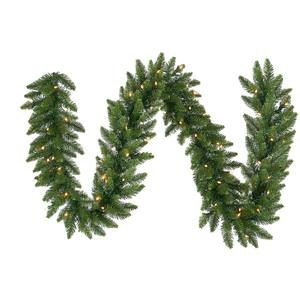 Vickerman Pre-Lit Camdon Fir Garland with 400 Frosted Warm White Italian LED Lights, 50-Feet, Green - Pre Lit Camdon Fir Garland