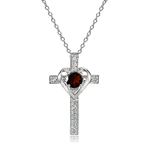 Sterling Silver Garnet and White Topaz Heart in Cross Necklace for Women Girls ()