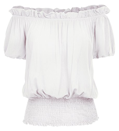 (Kate Kasin Womens Off Shoulder Vintage Peasant Blouse Ruffle Smocked Waist Boho Tops T Shirts KK1038-2,Ivory,XX-Large)