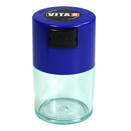 Vitavac - 5g to 20 grams Airtight Multi-Use Vacuum Seal Portable Storage Container for Dry Goods, Food, and Herbs - Dark Blue Cap & Clear Body