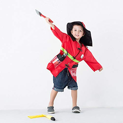 f217063e69b43 iPlay, iLearn Kids Fire Chief Costume, Halloween Fireman Dress Up Set, Fire  Fighter