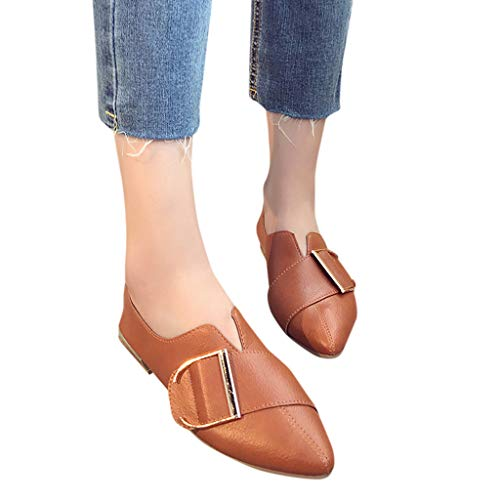 Sunmoot Work Slip-On Shoes for Woman Casual Square Heel Point Toe Shallow Flat Shoe -
