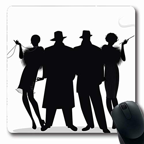 (Ahawoso Mousepads for Computers 20S Speakeasy Two Flapper Girls Charleston Roaring Gatsby Mafia Design Nostalgic Oblong Shape 7.9 x 9.5 Inches Non-Slip Oblong Gaming Mouse Pad)