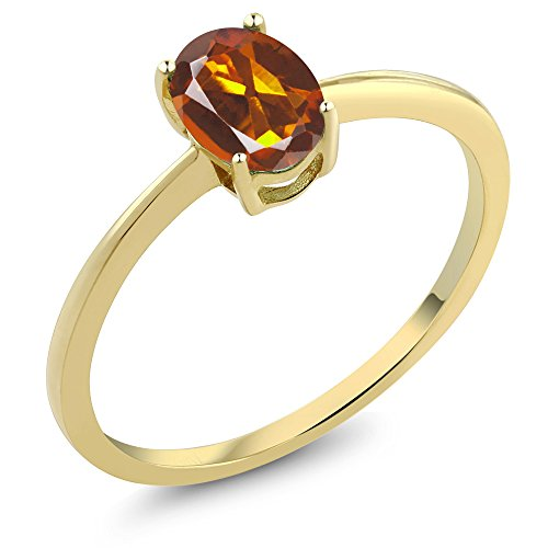 - 0.70 Ct Oval Orange Red Madeira Citrine 10K Yellow Gold Solitaire Engagement Ring (Size 7)
