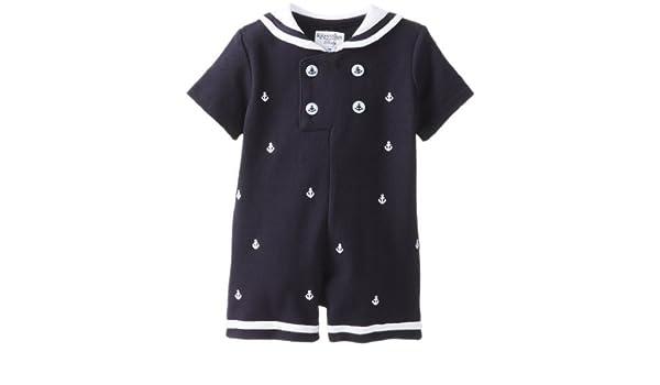 Kitestrings Baby-Boys infantil bordado Pelele de piqué traje de marinero, azul marino, 3 - 6 meses Color: Azul marino Tamaño: 3 - 6 meses infantil, bebé, ...