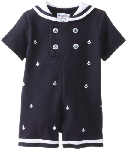 Kitestrings Baby-Boys infantil bordado Pelele de piqué traje de marinero, azul marino,