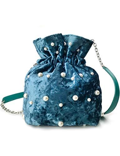 Pearl Studded Velvet Drawstring Bucket bag Chain Shoulder Handbag Convertible Backpack (Blue)
