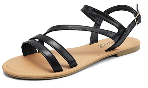 SANDALUP Women's Double Open Toe Band Adjustable Slingback Buckle Flat Sandals Black - Slingback Buckle