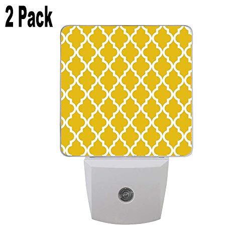 Mustard Yellow Moroccan Pattern 2PCs Led Night Lights, Auto Senor Dusk to Dawn Night Lights Plug in for Kids Baby Girls Boys Adults Room ()