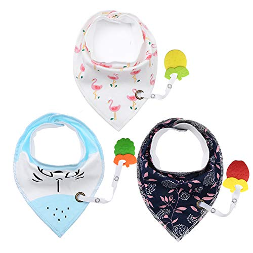 Baby Bandana Bibs with Teether - Drool Bibs Set for Teething Toddler, Idea Gift for New Baby, 0-6 Months,6-12 Months,1-3 Years (3pack)