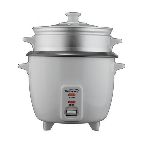 BRENTWOOD TS180S Brentwood Rice Cooker/Non Stick/With Steamer/8-Cups (Uncooked)(White Body)