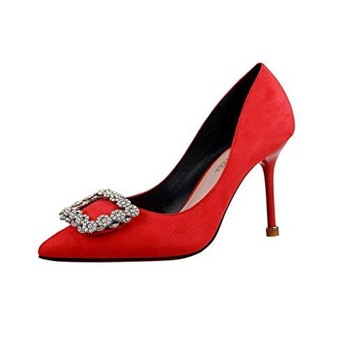 Sandalen Strass High Heels Mouth CJC High Elegante Heels Sexy Red Einfache dünne Baotou Hochhackige Mode Shallow rrSYqC