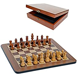 Grand Staunton Chess Set and Wooden Box - Tournament Size Weighted Pieces and Walnut Board - 19 in