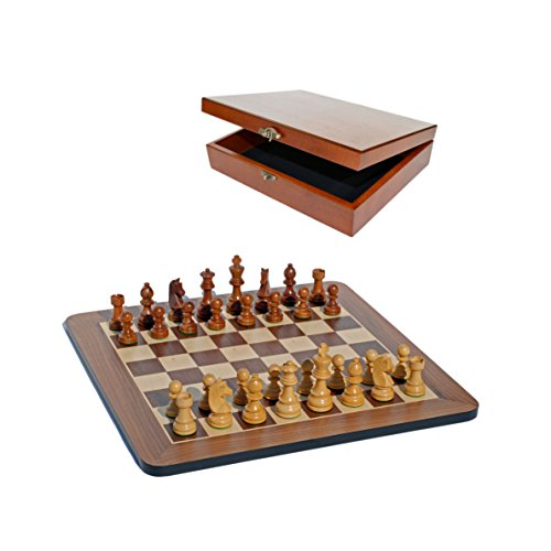 Grand Staunton Chess Set and Wooden Box - Tournament Size Weighted Pieces and Walnut Board - 19