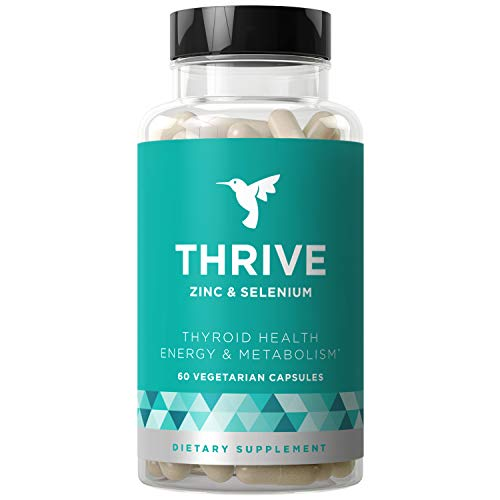 Thrive Thyroid Support & Energy Metabolism - Naturally Fight Fatigue, Balance Hormones, Promote Focused Energy - Zinc, Selenium, Iodine - 60 Vegetarian Soft Capsules