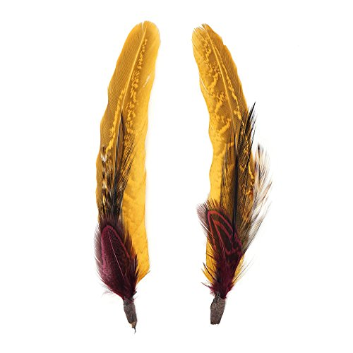 Zucker Feather (TM) - Pheasant-Hackle Feather Hat Trims Black/Fig/Marigold/Natural