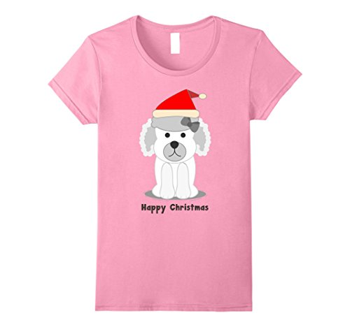 Womens Cute Chibi French Poodle in a Santa Hat Happy Christmas Tee XL Pink (Greeting Merry Christmas French)
