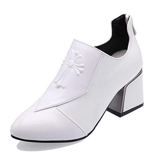 Zapatillas estrecha VogueZone009 sólidas Heels punta cremallera con Punta blancos PU estrecha Zapatos Gatito qw4UA