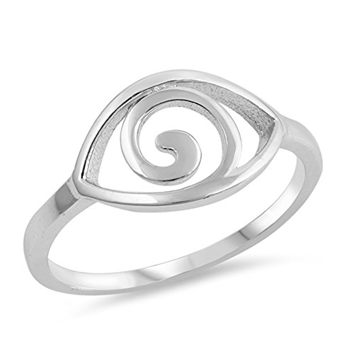Spiral Eye Wave Good Luck Boho Chic Ring New 925 Sterling Silver Band Size -