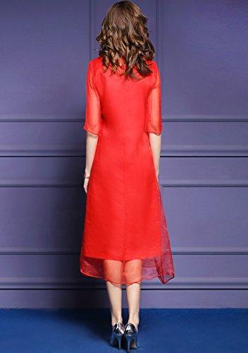 Women`s Cotylédons Robes De Soie À Col Broderie Casual Robe Lâche