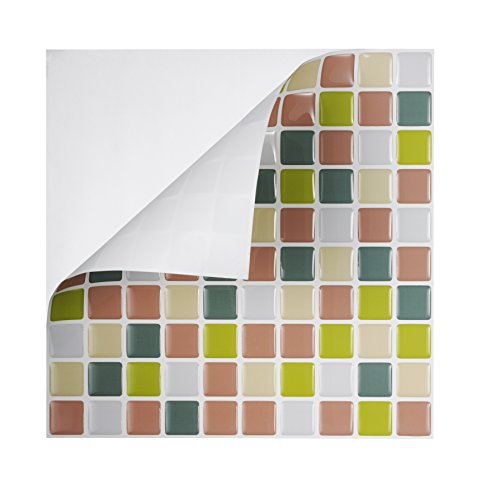 Tic Tac Tiles - High Quality Peel and Stick Wall Tile in Square Beigegreen (6)