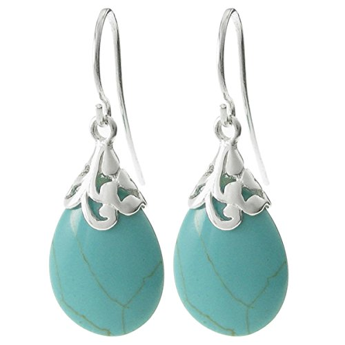 Dreambell Simulated Turquoise Teardrop Dangle Charm .925 Sterling Silver Flower Bail French Hook (Turquoise French Hook Earrings)